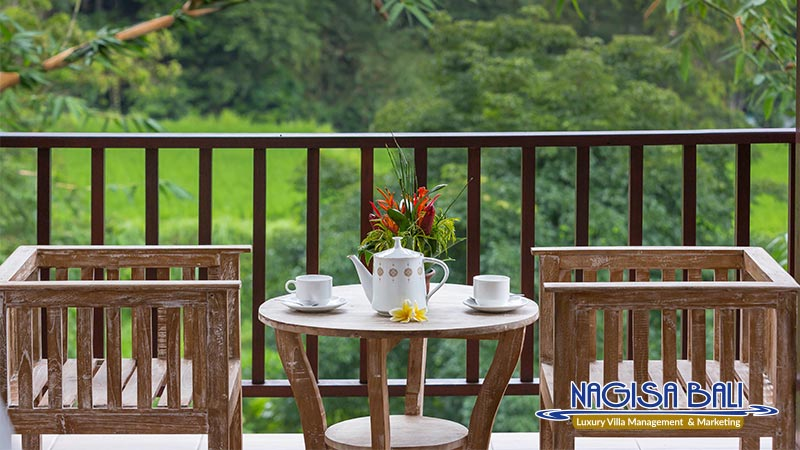 villa atap padi ubud balcony with rice field view by nagisa bali