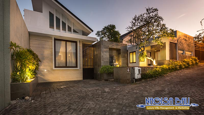 nagisa bali bay view villas entrance night view