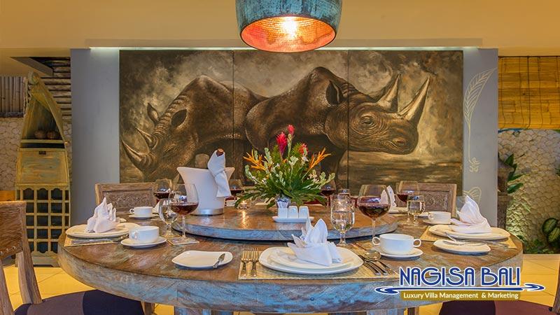 villa sky li seminyak dining with full setup by nagisa bali
