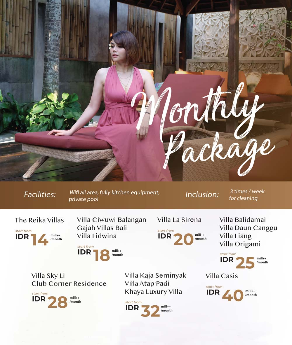 villa monthly package by by Nagisa Bali