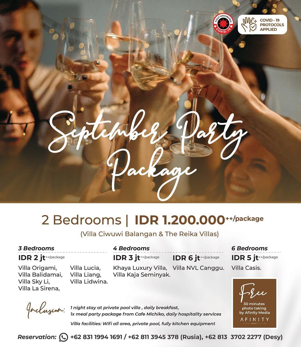 staycation villa promotion with september party promo by nagisa bali
